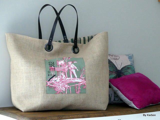 sac cabas XXL en toile de jute de la boutique bykarbon sur Etsy