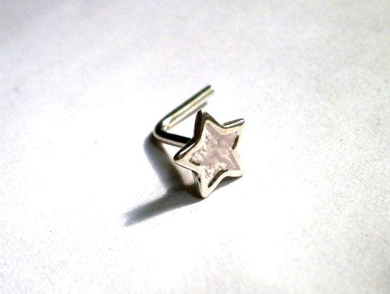 Tiny Nose Stud Silver Nose Stud Star Nose by JewelryByKonstantis
