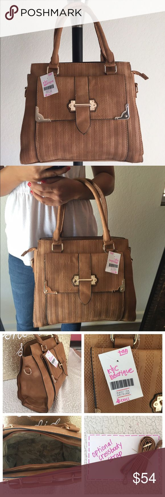 """🆕 Chestnut Champ handbag 🔥Brand New Boutique Item (handbag)  ONLY 1 of this color and style available!👜 -Brand: sold by Karma&Cali (retails for $94) -Color: camel+gold hardware  -Dimensions: 13"""" length, 12"""" height, 4.5"""" width -Details: ✨textured✨zipper closure, front envelope, back&interior pocket, two interior pouches, optional crossbody strap included -Other: creases iron out with use, lighting varies color/cannot be restocked/open to  •good o f f e r s•using Posh's offer button/ **soft…"""