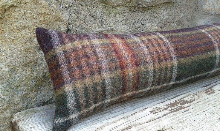 86cm Door draught excluder Heather's checked Yorkshire Woven Wool Fabric by Abraham Moon Handmade Filled by CowlingCountryCrafts on Etsy