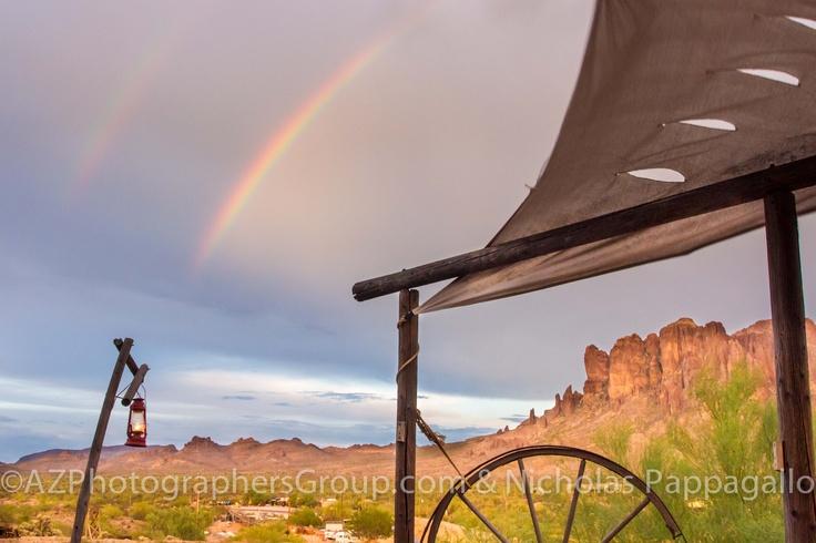 Superstition Double Rainbow in Apache Junction AZ #Arizona #AZ #Rainbow #Mountain