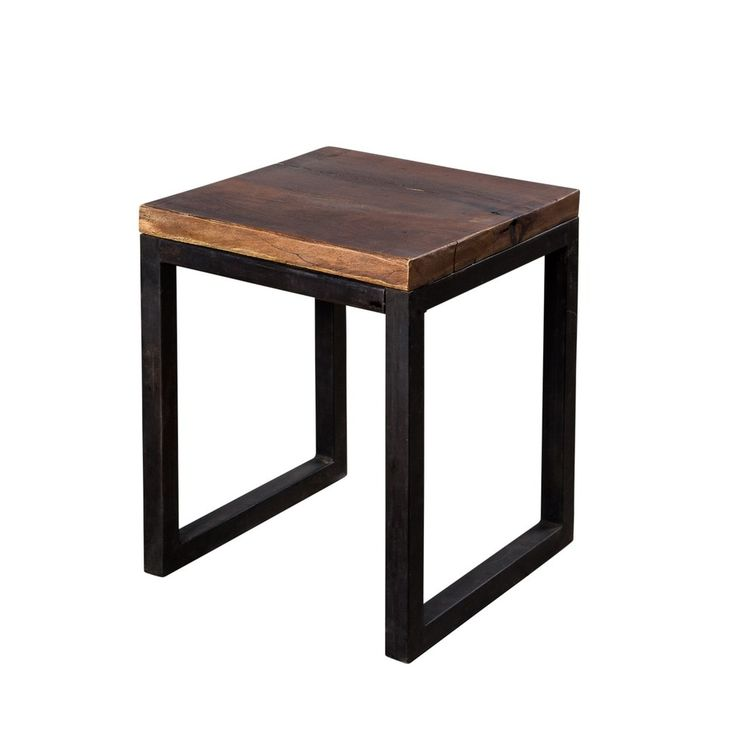 Reclaimed wood and metal side table decorating for Ikea end tables salon
