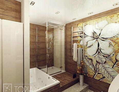 Ванная комната с душевой кабинкой. Новинка на сайте. Заказать у автора Елены Харитоновой. Очень красивая и уютная ванная комната с душевой кабинкой, ванной и теплым полом. Декоративная мозаика на стене легко моется, так же как и все присутствующие здесь отделочные материалы. #дизайнинтерьера #igenplan #дизайнванной #интерьерванной   #ванные