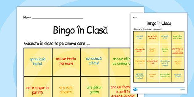 Bingo Bun Venit in Clasa - nou an scolar, elevi noi, comunicare, Romanian