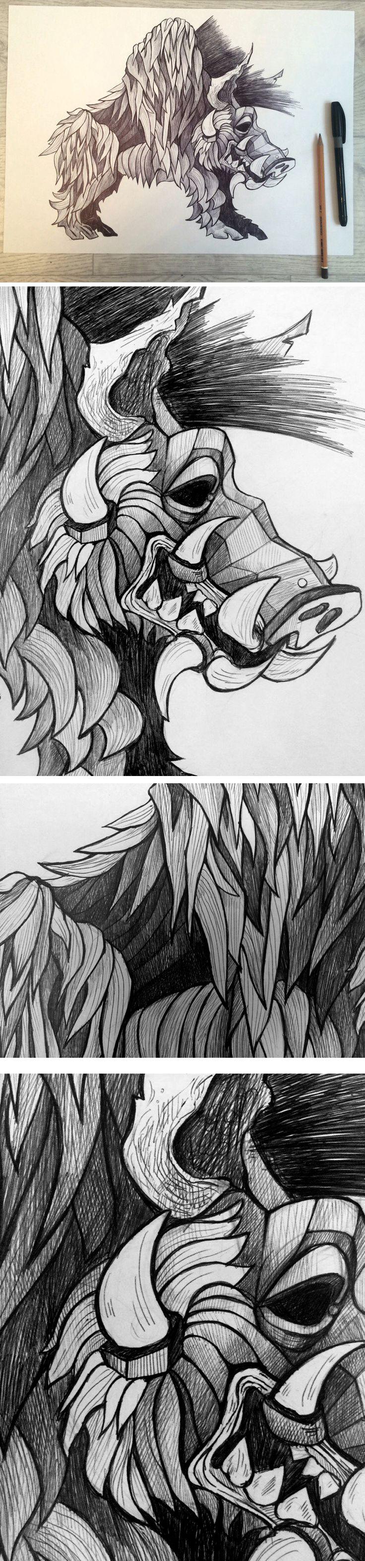 Графика на тему подвигов Геракла, подвиг 5 - Укрощение Эриманфского вепря и битва с кентаврами. Гелевая ручка. The graphics on the theme of the labors of Hercules , a feat 5 - Taming Erymanthian boar and the Battle of the Centaurs .  #graphics #drawing  #sketch #art #wild_boar #feat #Hercules