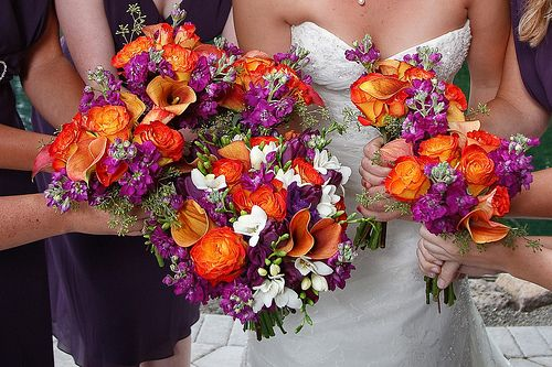 Purple and Orange bridal party flowers
