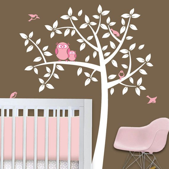 Owl Tree  Girl Baby Owl Nursery Theme  Nursery Wall by Lulukuku, $72.00