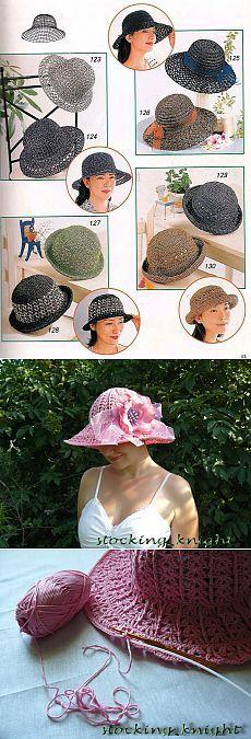 Пляжные шляпки. Схемы вязки..