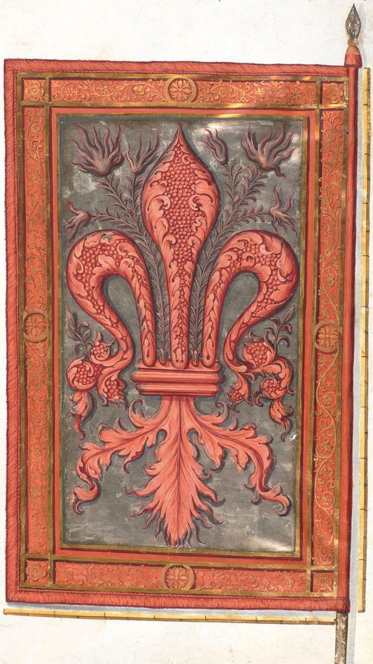 Bannière de Florence (f°010r) -- Le livre de drapeaux de Fribourg (Fahnenbuch/Book of Flags) de Pierre Crolot, 1648, Fribourg.