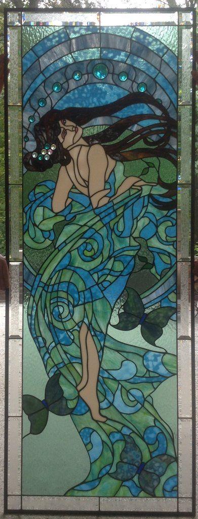 """Alphonse Mucha Danse 24 x 64"""" Stained Glass Pattern."""
