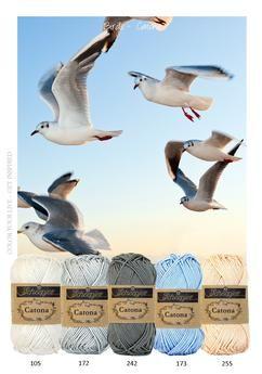 Kleurinspiratie - Birds. Mooie tinten katoen in grijs, blauw en licht oranje om mee te haken of te breien.
