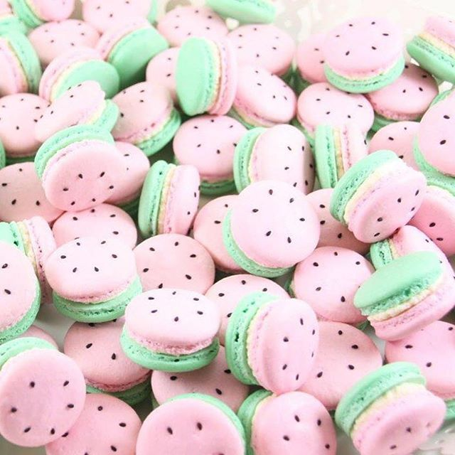 The sweetest little watermelon macarons by the amazing @lepetitmacaronperth for…