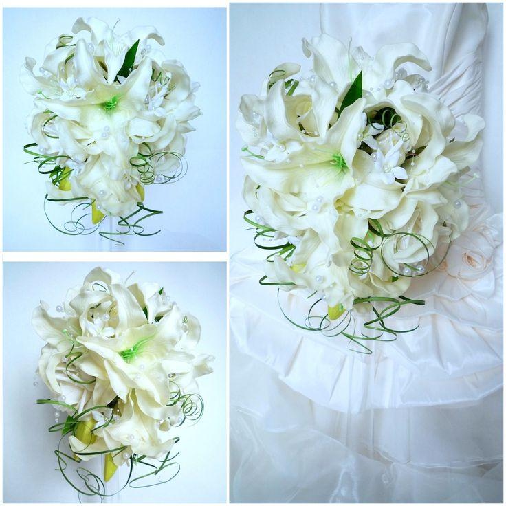 Bouquet de mariée rose lis jasmin blanc en forme de larme et la boutonnière (réf,bouquet-t002) : Autres accessoires par fleur-angelique