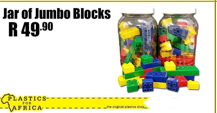 Keep the kids occupied during the school holiday with this Jar of Jumbo Blocks - still only R49.90 at #PlasticsforAfrica. T's & C's apply, E&OE. #SchoolHolidays
