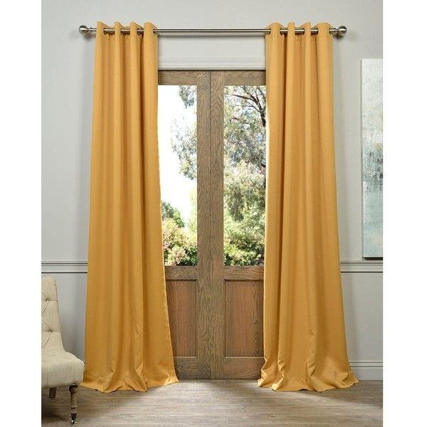 Exclusive Fabrics Marigold Grommet Blackout Thermal Curtain Panel Pair ($48) ❤ liked on Polyvore featuring home, home decor, window treatments, curtains, gold, blackout curtains, window screens, thermal window curtains, sun shade and thermal blackout curtains