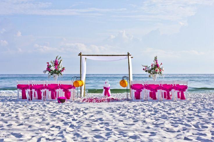 pink beach wedding destin florida