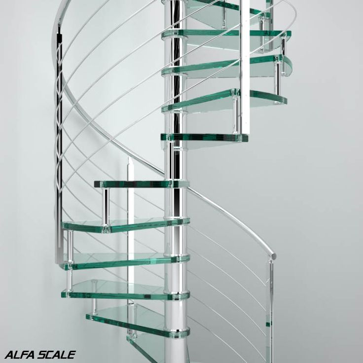 Round-section POLISHED / BRUSHED STAINLESS STEEL spiral staircase