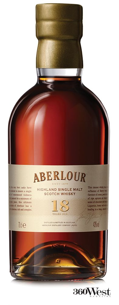 Aberlour Whisky is aged 18 years in sherry and bourbon casks, available at Total Wine & More, 360 West Magazine, June 2014 #whisky #aberlour