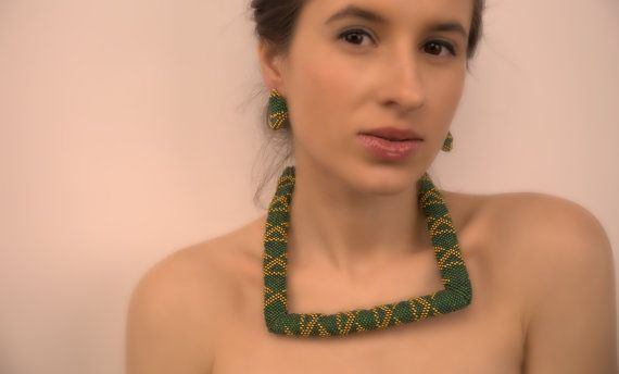 Beadwork Rainbow Green Gold jewelry Set  Beaded by Francysdesign, $125.00