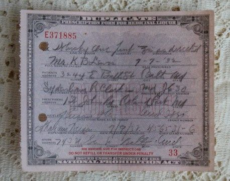 Old Pharmacy Medical Alcohol PROHIBITION Whiskey PRESCRIPTION Baltimore, MD. $25.00, via Etsy.