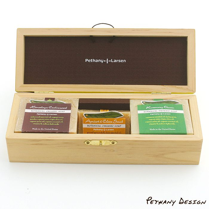 [ Organic Soaps Wood Gift Box ] Material: Soap, Wood, Paper. Designed in 2015 for Pethany+Larsen. Made in the United States, Taiwan.