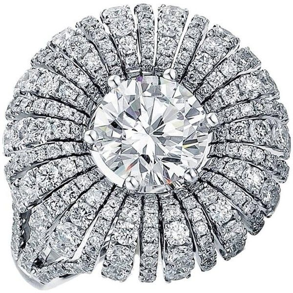 Preowned Frederic Sage 2 Carat Diamond Ring 'centre Diamond Not... ($8,995) ❤ liked on Polyvore featuring jewelry, rings, bridal rings, multiple, pre owned diamond rings, bridal jewelry, flower diamond ring and pre owned rings