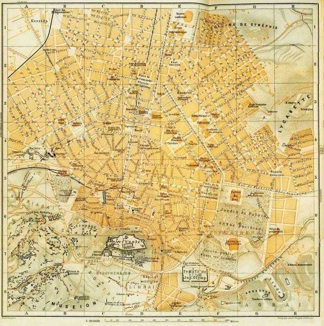 1894 Athens map - BAEDEKER, Karl