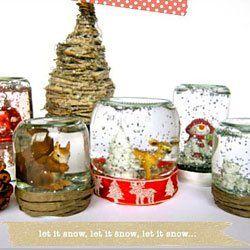 Schneekugeln basteln für Weihnachten