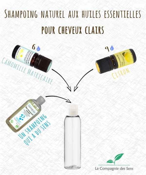 Shampoing naturel aux huiles essentielles pour illuminer et éclaircir les cheveux clairs