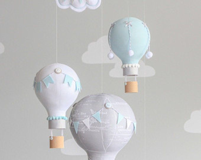 Baby Mobile, Hot Air Balloon and Elephant Mobile, Travel Theme, Nursery Decor, Balloon Mobile, i81