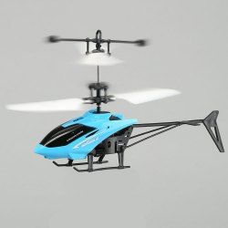 Flashing Light Mini Infrared Induction Flying Helicopter - Blue