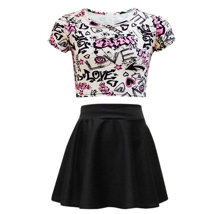 Kids Girls Love Graffiti Crop Top & Black Skater Skirt Set 7 8 9 10 11 12 13 Yr 3