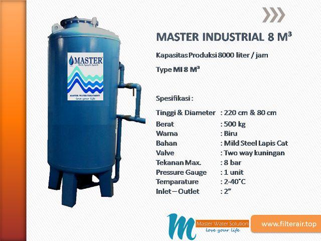 MASTER WATER SOLUTION menjual Filter Air berbahan dasar tabung dari Mild Steel atau baja ringan untuk kebutuhan industri skala kecil, dengan kapasitas 8000 liter/jam.
