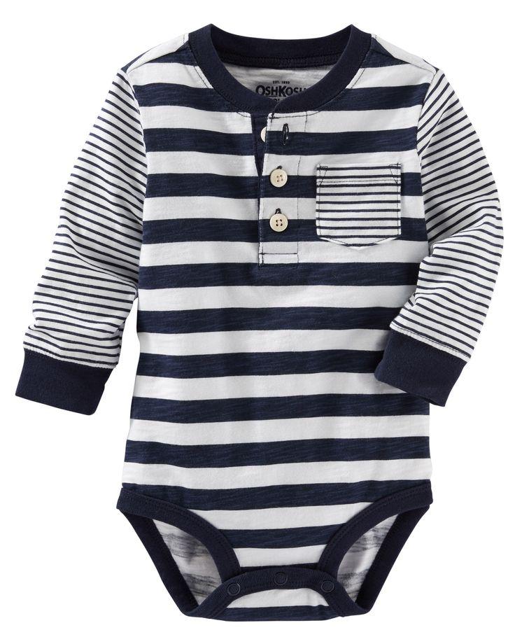Baby Boy Multi-Stripe Henley Bodysuit | OshKosh.com