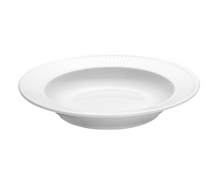 Plissé tallerken dyp hvit, Ø 22 cm