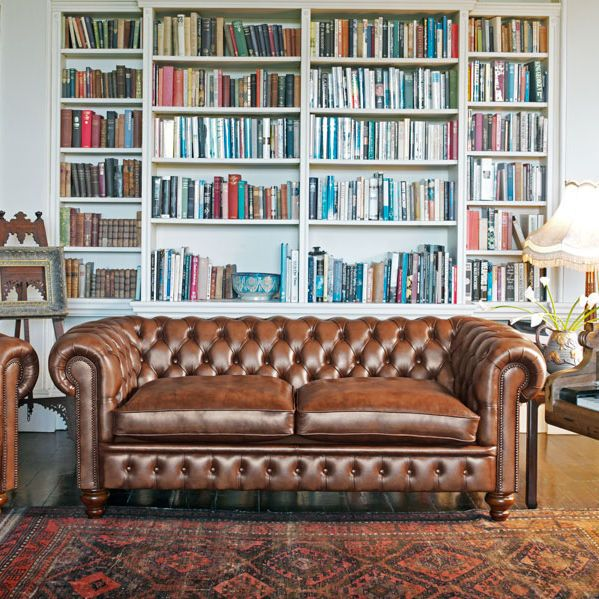 Chesterfield sofa / wool / leather / 2-seater CROMWELL Fleming & Howland