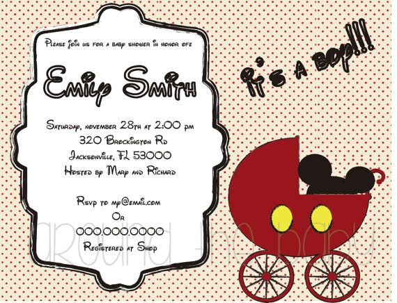 Mickey Mouse Baby Shower Invitation YOU PRINT By Aroundthebaby, $8.00