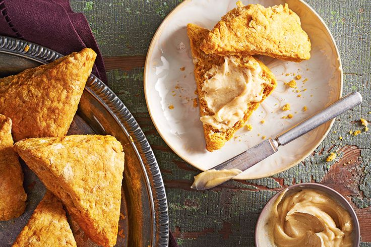 Pumpkin Scones with Whipped Brown Butter Icing