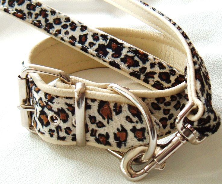 another custom item from leopard print with cream leather dog lead and collar www.etsy.com/uk/your/shops/Newforestcrafts