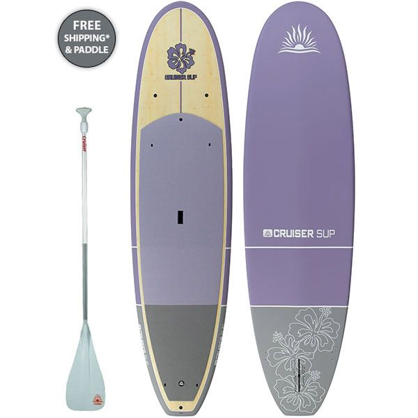 """Click Here for More Info - Cruiser SUP Wahine Classic Purple 9'6"""", 10'2"""" & 10'8"""" Ultra-Lite Bamboo Stand Up Paddle Board with Free Paddle, 3 Fins, Deck Pad!"""