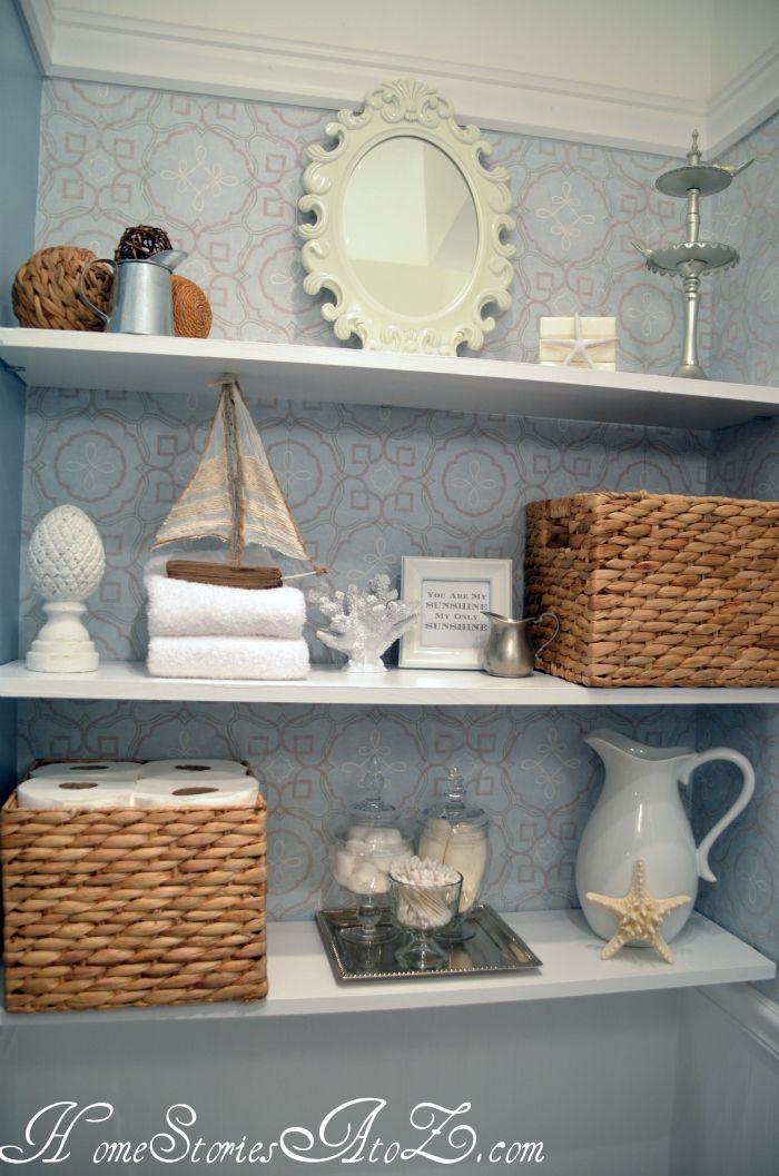 master bathroom shelves