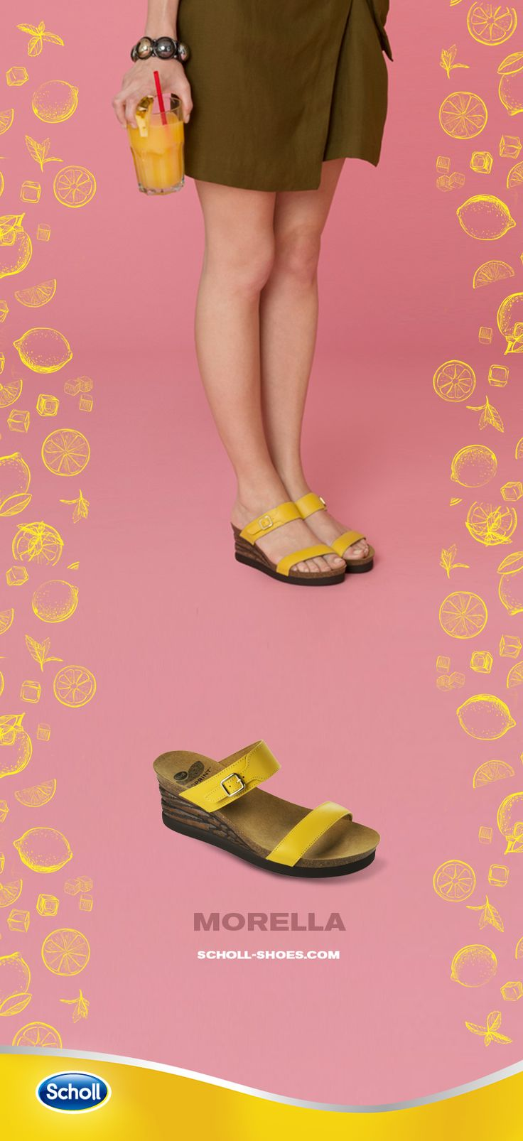 Your friends are waiting for you with an iced cocktail for some chit-chat. They will tell you the latest gossip! Wear Morella and you'll be ready to go out.  Discover more on scholl-shoes.com