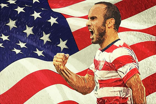 Landon Donovan, London timothy Donovan, portrait, soccer player, american flag, united states, illustration, sports, football, la galaxy, forward, bayer Leverkusen, san jose earthquakes, Bayern Munich, Everton, ontario, California, national team, poster, decorative, home decoration, living room, bedroom, office, stadium, cafe, bar, 2002 Fifa world cup, clint Dempsey, los angeles, digital painting, Los galacticos, bruce arena, stubhub center, carson, champions, Robbie Keane
