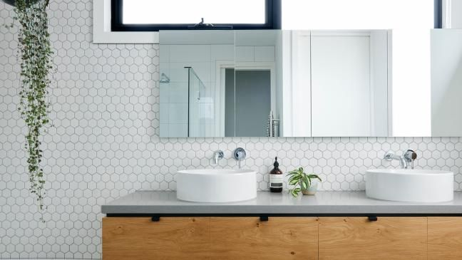 Feature Tile Option With White Hexagon Sheet Mosaics