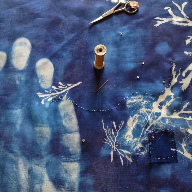 Hannah Lamb: Baptism, 2014 (work in progress) Silk, cyanotype, stitch