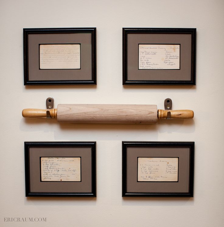 Framed hand-written recipes from Grandma, two Great Grandmas, and a Great Great Grandma, removable rolling pin to put them into action in the kitchen.