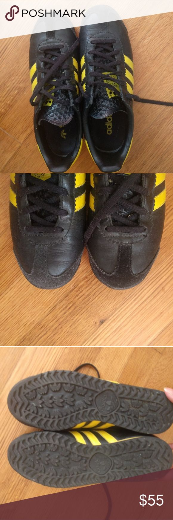 Adidas leather black yellow soccer shoes sz 5.5 /7 Rare leather Adidas soccer shoes, black with yellow stripes. Men's size 5.5, Women's Sz 6.5/7. I'm a 7 and these ran just a little small for me, which breaks my heart because I had been searching for this style forever. Great used condition. adidas Shoes Athletic Shoes