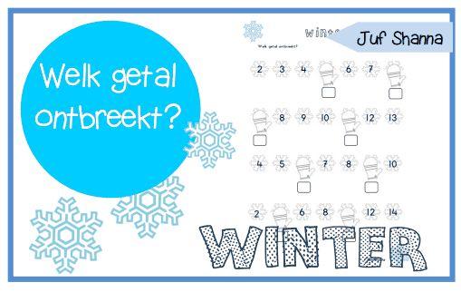 Thema winter - welk getal ontbreekt er?
