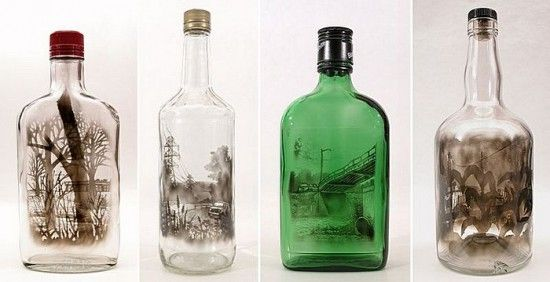 """Bottled Smoke Art - Jim Dingilian uses candle smoke to paint amazingly detailed scenes of """"locations on the edge of suburbia"""" on the inside of glass bottles.  Quite incredible."""