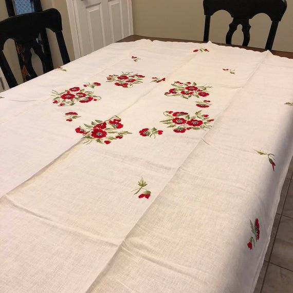Christmas Dinner On Va Beach 2020 Vintage LINEN Red Tablecloth UNUSED PRISTINE Dinner Hand | Etsy in